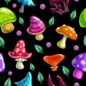 Seamless pattern with cute cartoon mushrooms
