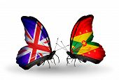Two Butterflies With Flags On Wings As Symbol Of Relations Uk And Grenada