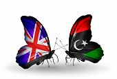 Two Butterflies With Flags On Wings As Symbol Of Relations Uk And Libya
