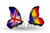 Two Butterflies With Flags On Wings As Symbol Of Relations Uk And Moldova