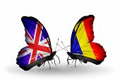 Two Butterflies With Flags On Wings As Symbol Of Relations Uk And Chad, Romania