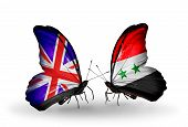 Two Butterflies With Flags On Wings As Symbol Of Relations Uk And Syria
