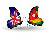 Two Butterflies With Flags On Wings As Symbol Of Relations Uk And Togo