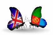 Two Butterflies With Flags On Wings As Symbol Of Relations Uk And Eritrea