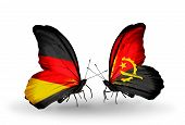 Two Butterflies With Flags On Wings As Symbol Of Relations Germany And Angola