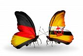 Two Butterflies With Flags On Wings As Symbol Of Relations Germany And Brunei