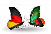 Two Butterflies With Flags On Wings As Symbol Of Relations Germany And Zambia