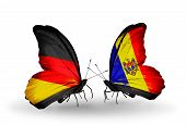 Two Butterflies With Flags On Wings As Symbol Of Relations Germany And Moldova