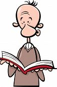 Man With Book Cartoon Illustration