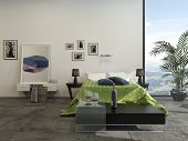 3D Rendering of Modern grey and white bedroom interior with a green accent counterpane on the bed and a potted palm in front of a large view window
