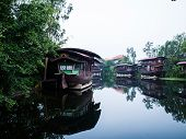 pic of houseboats  - Houseboat in the Tha Chin River Nakhonpathom - JPG