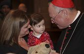Cardinal Dolan blesses stuffed animal