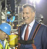 Mayor Bill De Blasio in harness