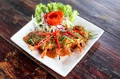 picture of thai food  - Thail food shrimp with red curry and vegetable on disc.