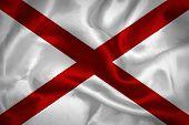 image of alabama  - Flag of Alabama painted on fabric surface - JPG