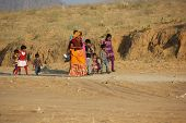 Indian Family Walking For Going To Pushkar Fair