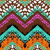 Multicolor hand drawn pattern zigzag