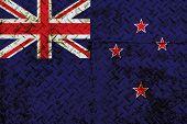 stock photo of zea  - New Zealand flag painted on steel wall - JPG