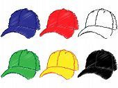 Baseball Caps In Different Colours Pencil Style 1