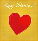 Happy Valentine's Card With Glossy Heart Golden Background