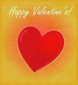 Happy Valentine's Card With Glossy Heart Red & Golden Background