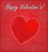Happy Valentine's Card With Glossy Heart Red Background