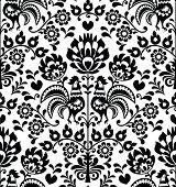 Seamless floral Polish folk pattern - Wycinanki, Wzory Lowickie