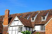 Tudor building rooftops, Tewkesbury.