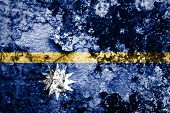 Nauru flag on grunge wall