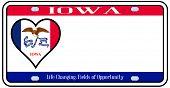 Iowa State License Plate