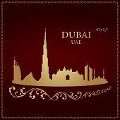 Dubai Skyline Silhouette On Vintage Background
