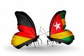 Two Butterflies With Flags On Wings As Symbol Of Relations Germany And Togo