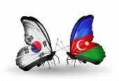 Two Butterflies With Flags On Wings As Symbol Of Relations South Korea And Azerbaijan