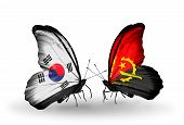 Two Butterflies With Flags On Wings As Symbol Of Relations South Korea And Angola