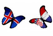 Concept - Two Butterflies With Icelandic And Croatian Flags Flying