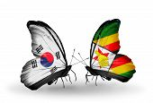Two Butterflies With Flags On Wings As Symbol Of Relations South Korea And Zimbabwe