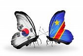Two Butterflies With Flags On Wings As Symbol Of Relations South Korea And Kongo