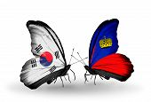 Two Butterflies With Flags On Wings As Symbol Of Relations South Korea And Liechtenstein