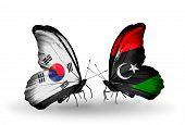 Two Butterflies With Flags On Wings As Symbol Of Relations South Korea And Libya