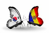 Two Butterflies With Flags On Wings As Symbol Of Relations South Korea And Moldova