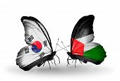 Two Butterflies With Flags On Wings As Symbol Of Relations South Korea And Palestine