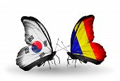 Two Butterflies With Flags On Wings As Symbol Of Relations South Korea And Chad, Romania
