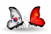 Two Butterflies With Flags On Wings As Symbol Of Relations South Korea And Soviet Union