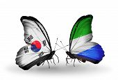 Two Butterflies With Flags On Wings As Symbol Of Relations South Korea And Sierra Leone