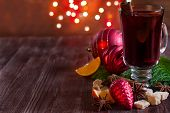 image of christmas spices  - Christmas mulled wine with spices and orange - JPG