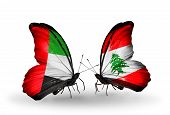Two Butterflies With Flags On Wings As Symbol Of Relations Uae And Lebanon