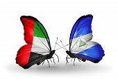 Two Butterflies With Flags On Wings As Symbol Of Relations Uae And Nicaragua