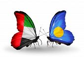 Two Butterflies With Flags On Wings As Symbol Of Relations Uae And Palau
