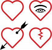 San Valentín del vector y la ilustración de corazones rotos