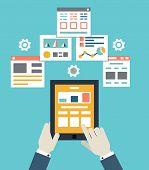 Flat Vector Illustration Of Mobile Application Optimization, Programming, Design And Analytics